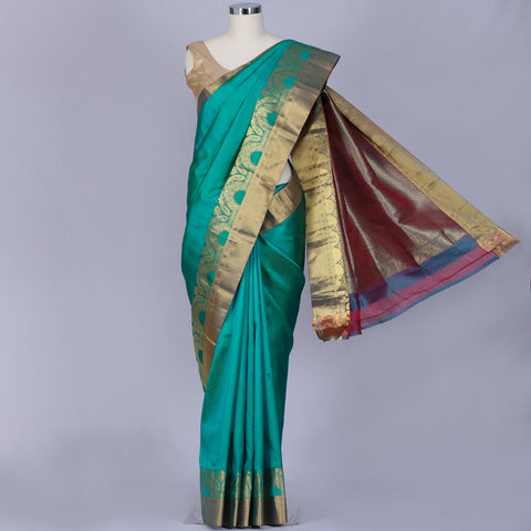 Sea green designer pure silk saree