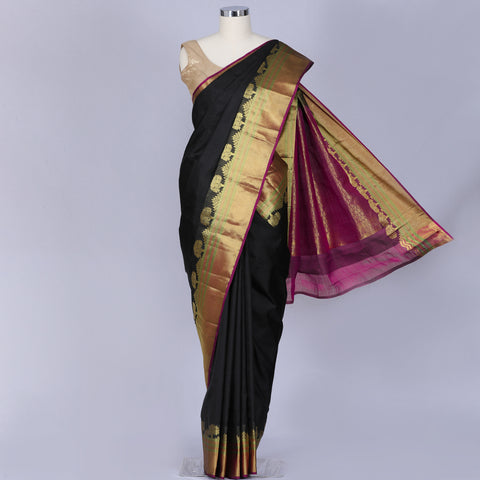 Jet Black Kanchi silk saree