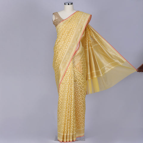 Lemon yellow banaras kora silk saree