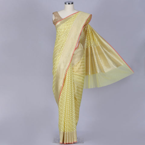 Lemon yellow pure banarasi kora silk saree