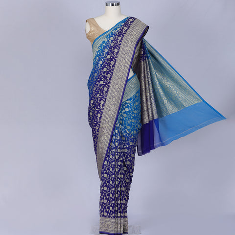 Blue Banarasi Kaddi georgette saree