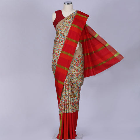 Multi coloured pochampally pure handloom silk saree