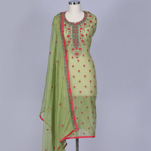 Light pista green chanderi dress material set