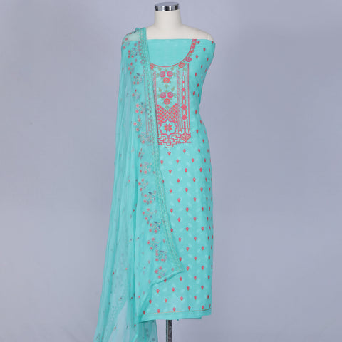 Aqua blue soft cotton unstitched salwar suit set
