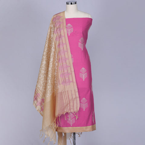 Pink cotton and silk dress material