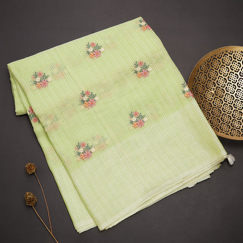 Lime green tussar silk saree