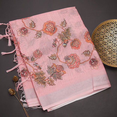 Dark peach semi linen saree