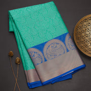 Sea blue banarasi cotton saree