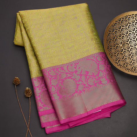 Parrot green Banarasi semi silk saree