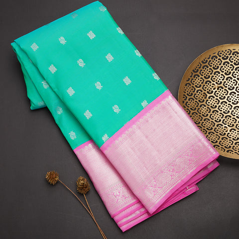 Sea green designer handloom silk saree