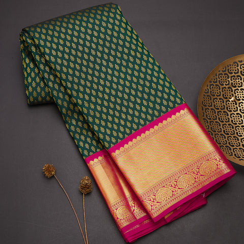 Bottle green designer handloom silk saree