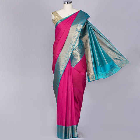 Two tone pink designer pure silk saree