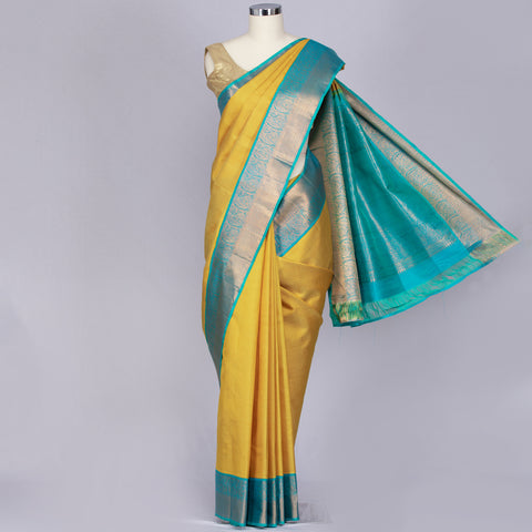 Pineapple yellow designer pure silk saree