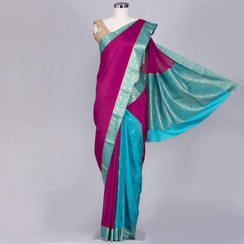 Bright pink, partly pallu Mysore crepe silk saree