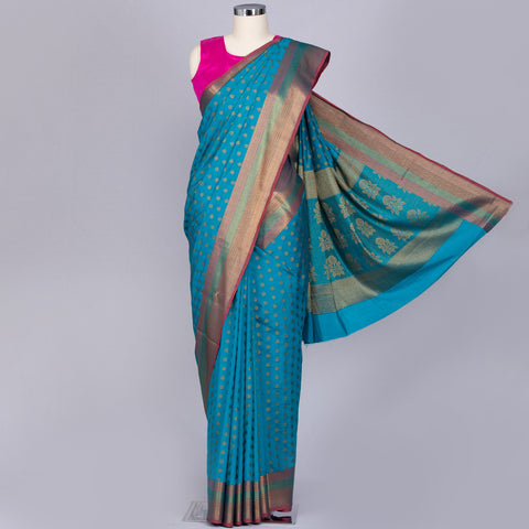 Turquoise blue art silk saree