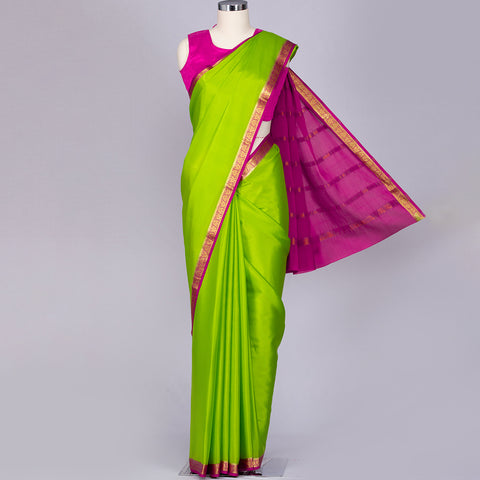 Parrot green Mysore silk saree