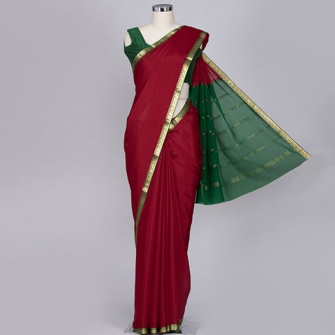 Crimson red Mysore silk saree