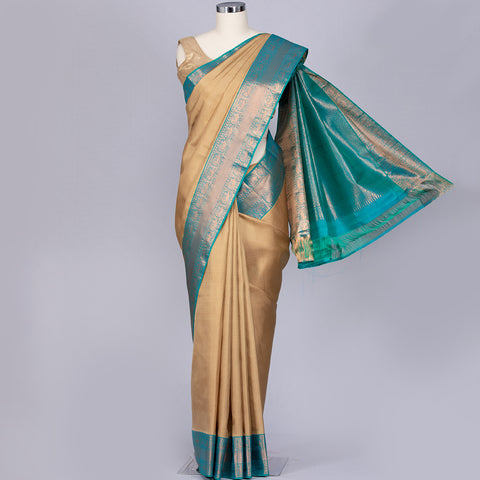 Beige designer pure silk saree