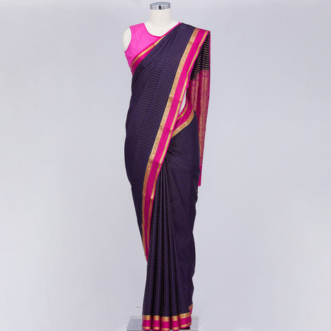 Purpleish mysore crepe silk saree