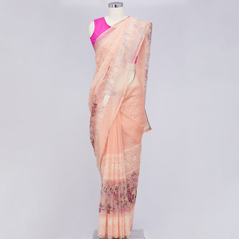 Dark peach organza saree