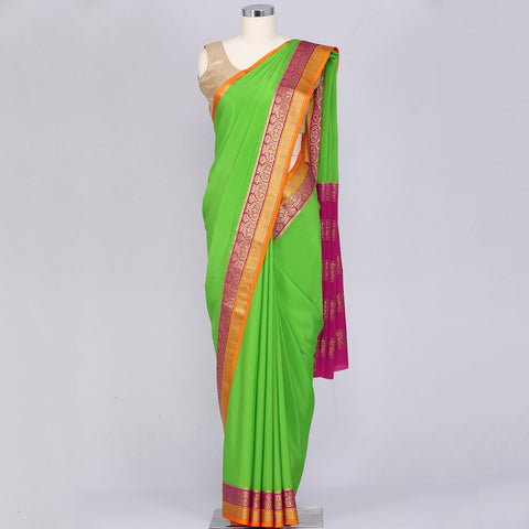 Parrot green pure Mysore crepe silk saree