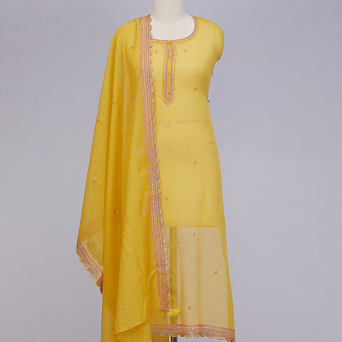 Yellow chanderi unstitched suit material set
