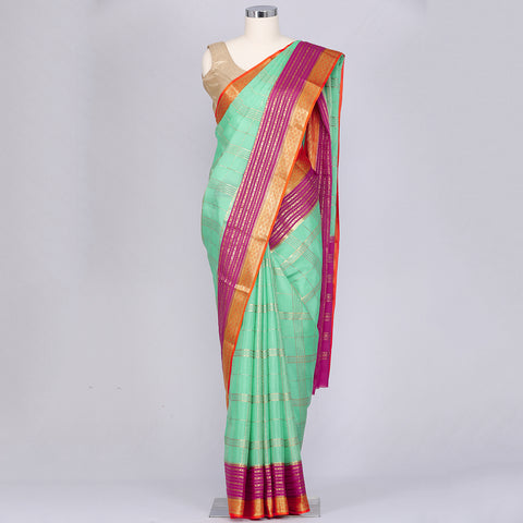 Sea green pure Mysore silk crepe saree