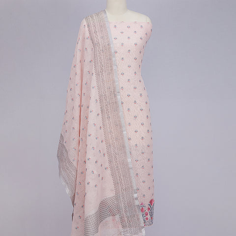 Baby pink lcotton unstitched suit