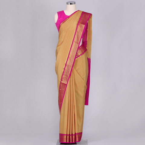 Sandal wood coloured pure mysore crepe silk saree
