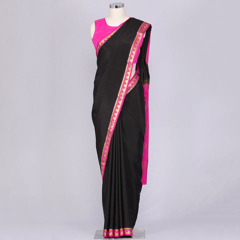 Black pure mysore crepe silk saree