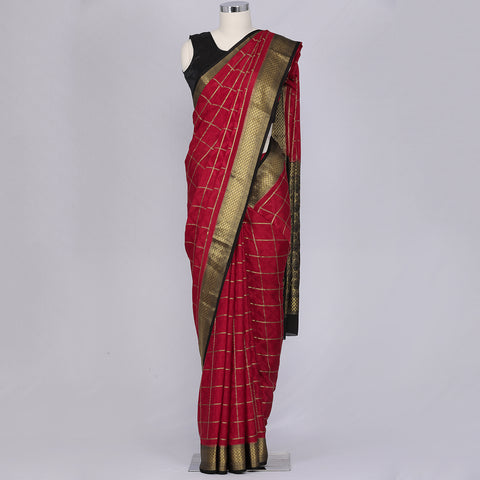 Deep red pure mysore crepe silk saree