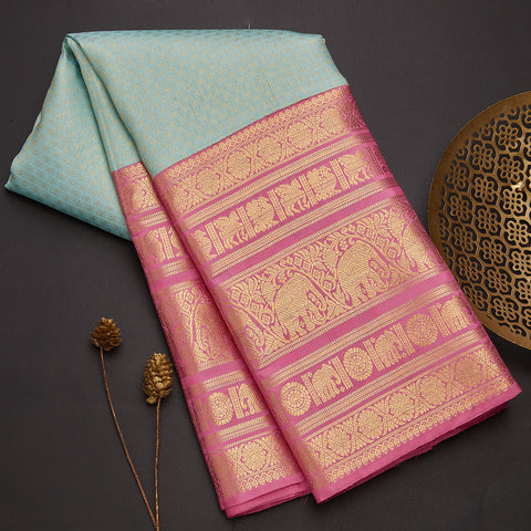 Ice blue kanjeevaram silk saree