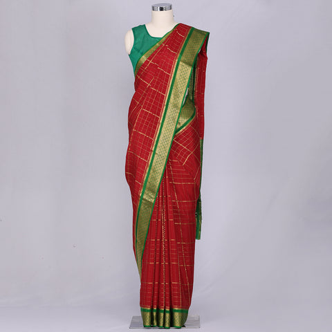 Red pure mysore crepe silk saree
