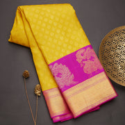 Mustard yellow  kanjeevaram silk saree