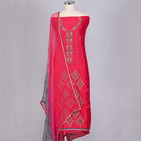 Red chanderi silk unstitched dress material