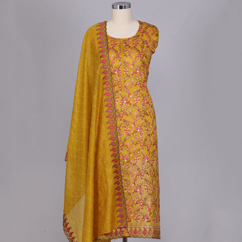 Mustard yellow chanderi silk unstitched suit material