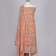 Peach crepe silk unstitched suit material
