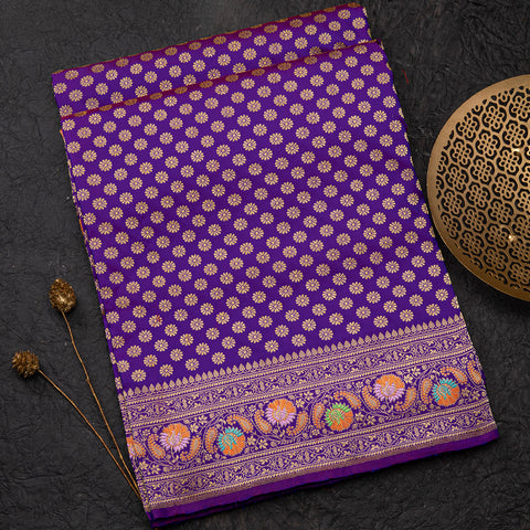 Purple Banarasi silk saree with meenakari work