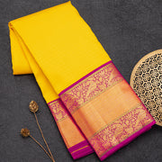 Yellow designer pure silk saree with checks