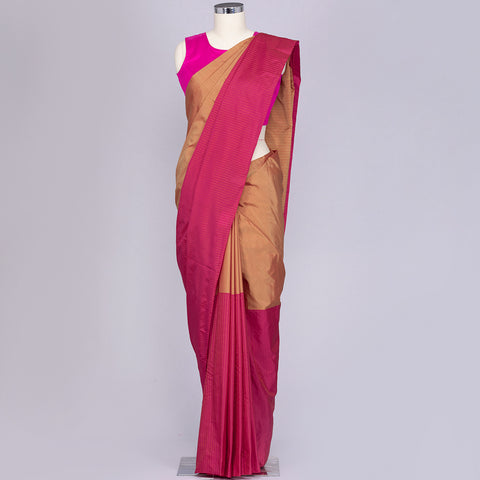 Golden Beige and Pink art silk saree