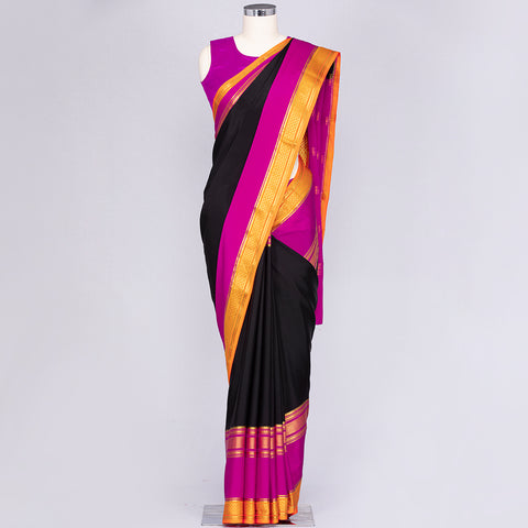 Black and Magenta Mysore silk saree
