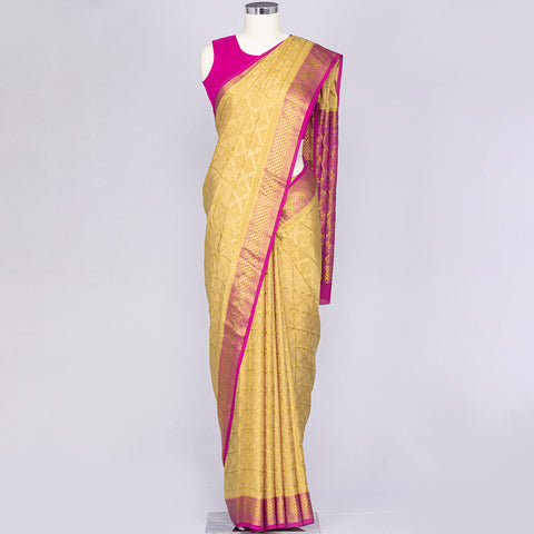 Golden Beige pure Mysore crepe silk saree