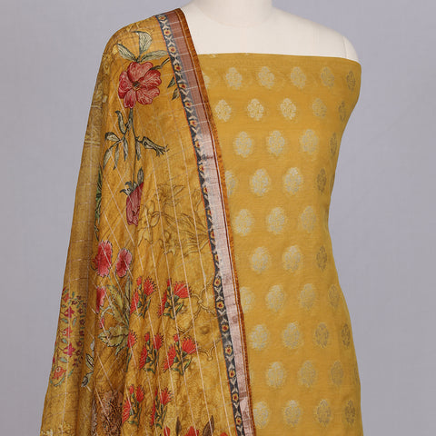 Mustard yellow chanderi cotton silk unstitched suit