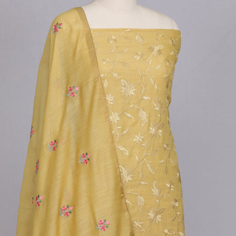 Pineapple Yellow embroidered Tussar silk unstitched suit