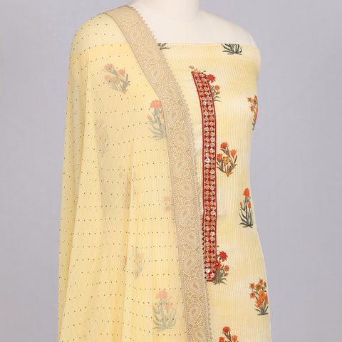 Lemon Yellow georgette unstitched suit