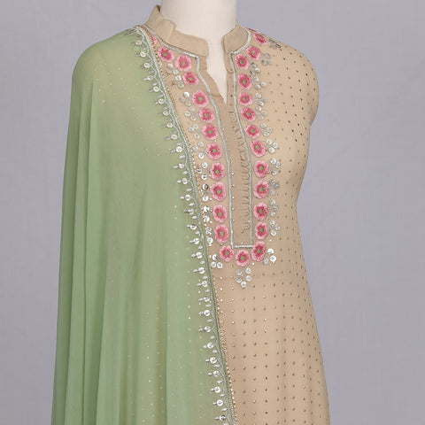 Beige embroidered designer goergette unstitched suit