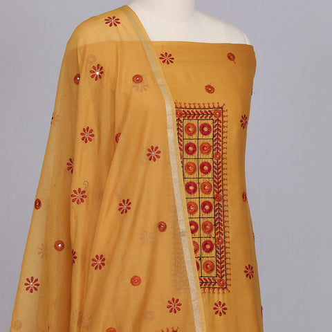 Mustard yellow chanderi cotton silk untitched suit