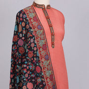 Peach designer silk unstitched suit