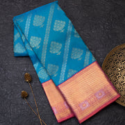 Copper Sulpate Blue pure Kanjeevaram silk saree