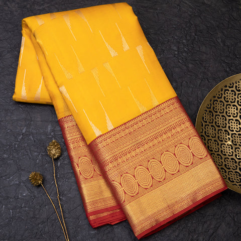 Mango Yellow pure Kanjeevaram silk saree
